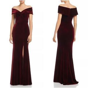 Red Wine Burgundy Velvet Off-Shoulder Fluted Gown